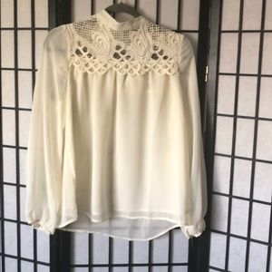 Lace and sheer turtle neck blouse